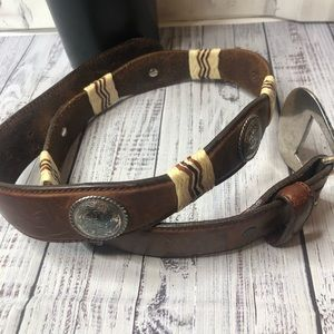 Tony Lama brown buckle embellished belt